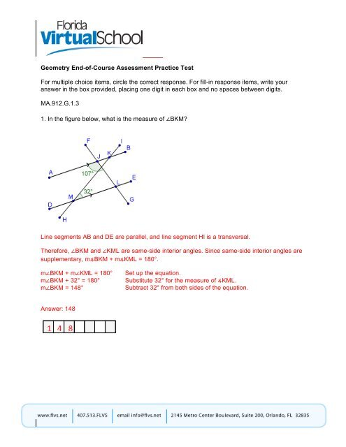 florida virtual geometry test answers