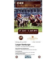 Rennprogramm 30.06 2015 - 3. Renntag - Derby-Meeting 2015