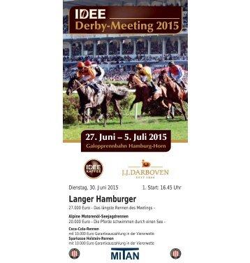 Rennprogramm 30.06 2015 - 3. Renntag - Derby-Meeting 2015