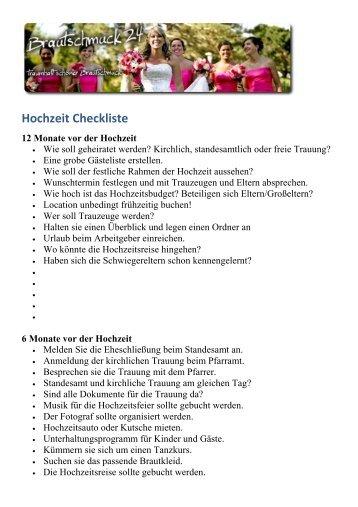 Hochzeit Checkliste zum ausdrucken - Brautschmuck 24