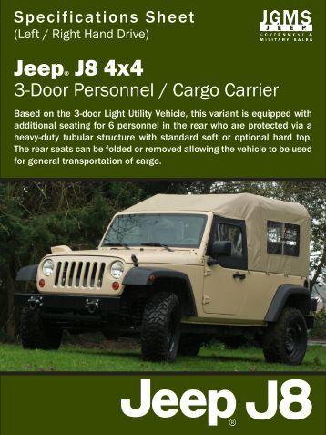 J8 Spec Sheet - Personnel Cargo Carrier - Jeep J8