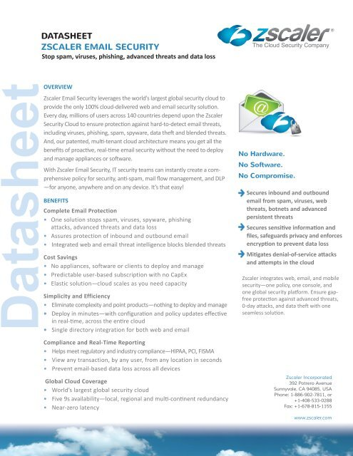 DATASHEET ZSCALER EMAIL SECURITY - Exclusive Networks