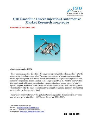GDI (Gasoline Direct Injection) Automotive Market Research 2015-2019- JSB Market Research