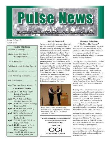 Sept-Oct new newsletter - Northern Pulse Growers Association