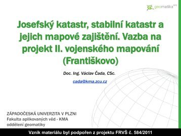 Josefský katastr - Západočeská univerzita v Plzni
