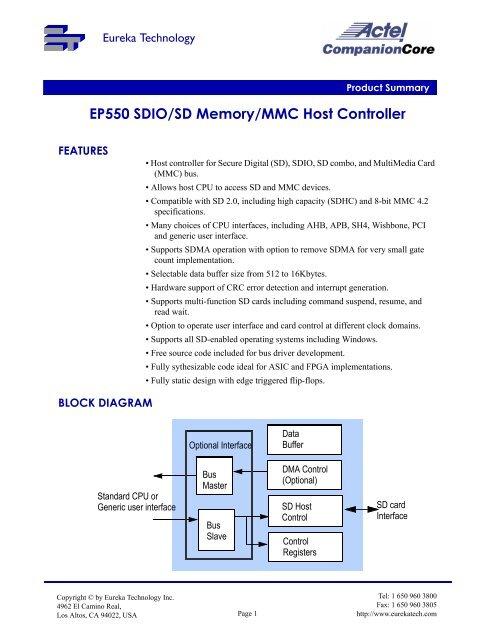 EP550 SDIO/SD Memory/MMC Host Controller - Eureka Technology