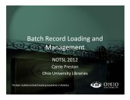 Batch Record Loading and Management - NOTSL