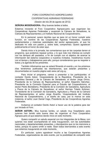 Taquigrafia APERTURA - Cooperativas Agrarias Federadas