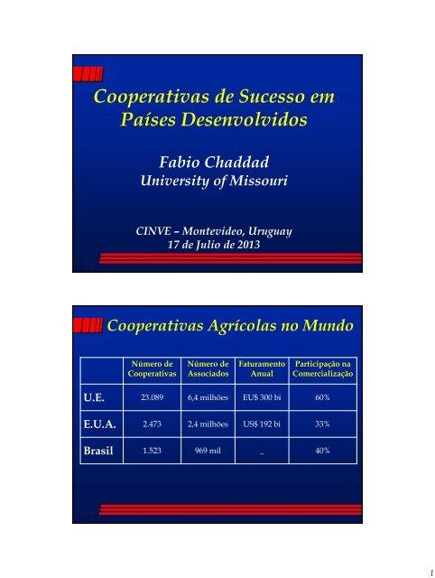 Cooperativas Agrícolas no Mundo - Cinve