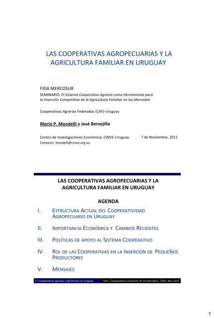 Las Cooperativas Agropecuarias Y La Agricultura Familiar En