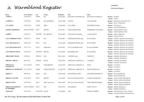 Warmblood Register - The Ace Group