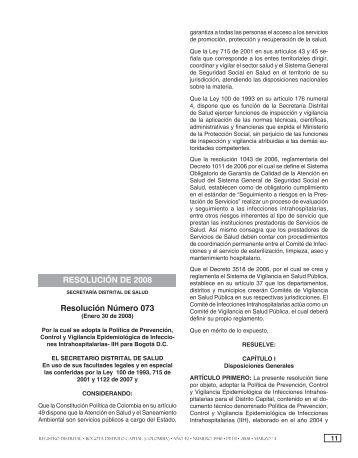 Resolución 073 de 2008 - Secretaría Distrital de Salud