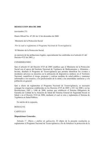 Resolución 4816 de 2008 - Secretaría Distrital de Salud