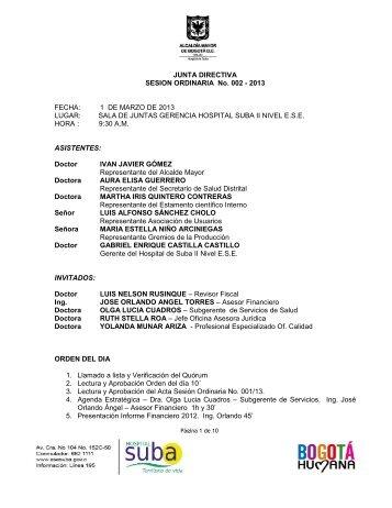 ACTA JUNTA DIRECTIVA ORDINARIA No. 002 DEL ... - Hospital Suba