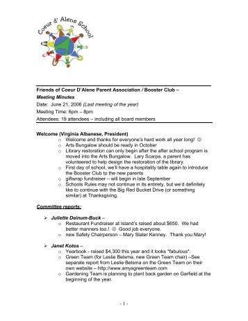 Meeting Minutes Date: June 21, 2006 (Last meeting of th