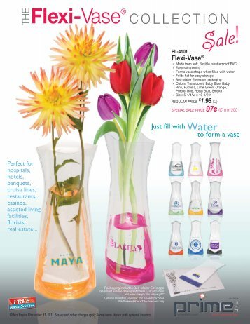 Pl 4101 Flexi Vase Just Fill With Water To Form A Vase Prime Line