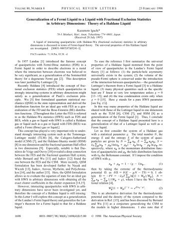 Generalization of a Fermi Liquid to a Liquid with Fractional ...