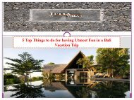 5 Top Things to do for having Utmost Fun in a Bali Vacation Trip