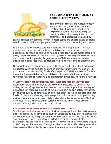 Tips for holiday safety for Fall cooking tips
