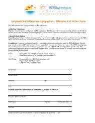 Attendee List Order Form - MP Associates, Inc.