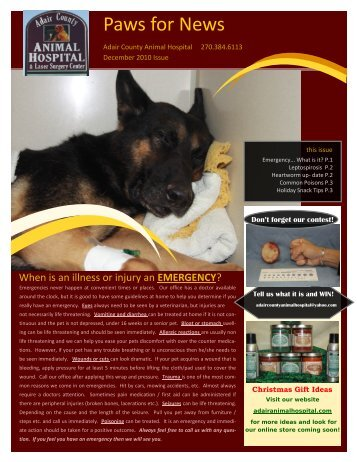 December 2010 Newsletter - Adair County Animal Hospital