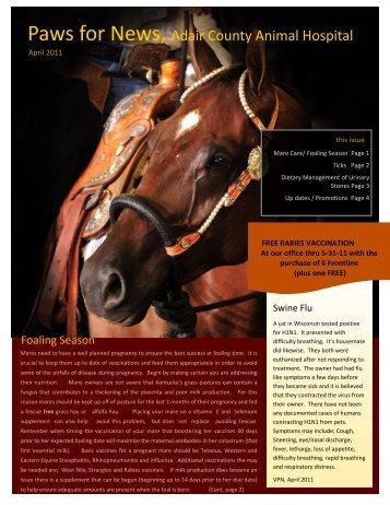 April 2011 Newsletter - Adair County Animal Hospital