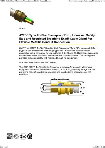 A2FFC Cable Gland, Flameproof Ex d, Increased Safety Ex e and ...