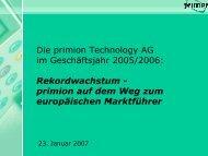 ergebnis Auftrags- bestand 28,8 Mio. - primion Technology AG