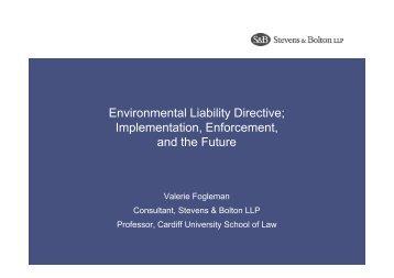 Environmental Liability Directive; Implementation, Enforcement, and ...