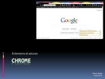 Fonctions intéressantes de Chrome (Pierre Diotte)