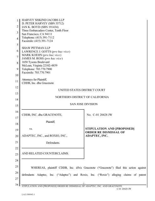 Stipulation of Dismissal Adaptec, Inc
