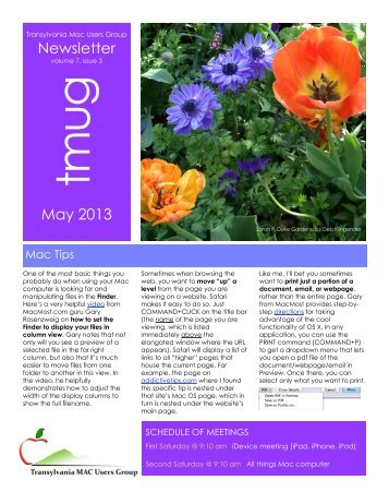 Newsletter May 2013 - Transylvania Mac Users Group