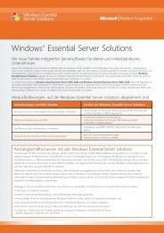 Windows® Essential Server Solutions