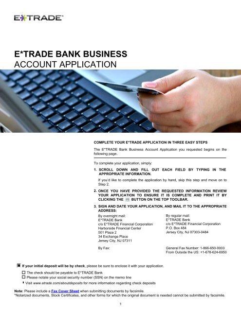 E*TRADE BANK BUSINESS ACCOUNT APPLICATION