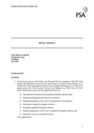Final Notice: Scott Briscoe Limited - MemoFin.fr