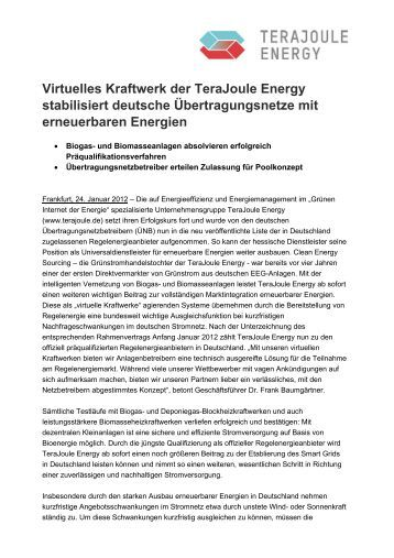 Virtuelles Kraftwerk der TeraJoule Energy stabilisiert deutsche ...