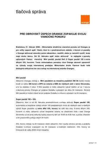 Vianoce cez e-shop - Orange Slovensko, as