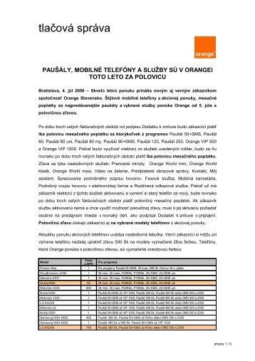 tlačová správa - Orange Slovensko, as