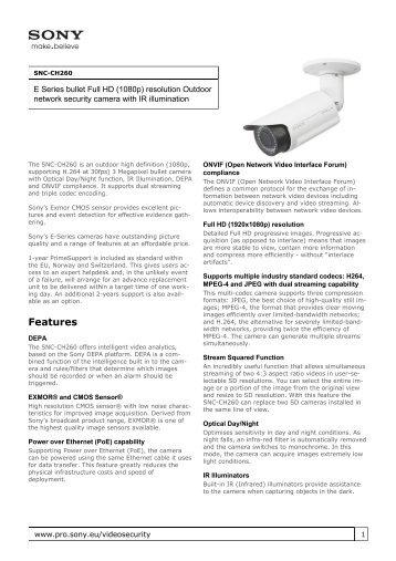 Sony : Product Information : SNC-CH260 (SNCCH260 ... - Elvia CCTV