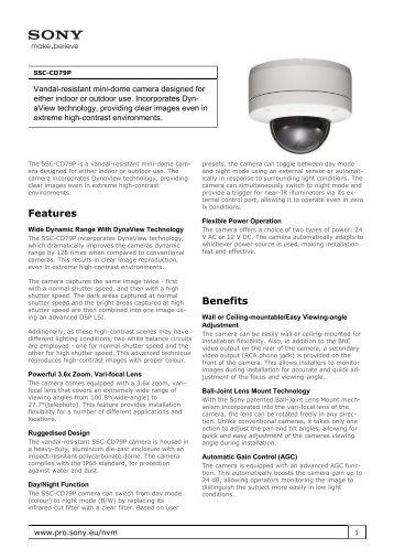 Sony : Product Information : SSC-CD79P (SSCCD79P ... - Elvia CCTV
