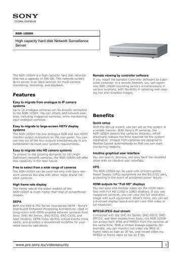 Sony : Product Information : NSR-1050H (NSR1050H ... - Elvia CCTV