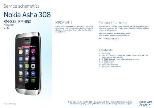 Nokia Asha 308 RM-838 / RM-852 Service schematics - Data
