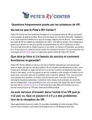 Qu'est-ce que le Pete's RV Center? Que dois-je faire si j'ai besoin du ...