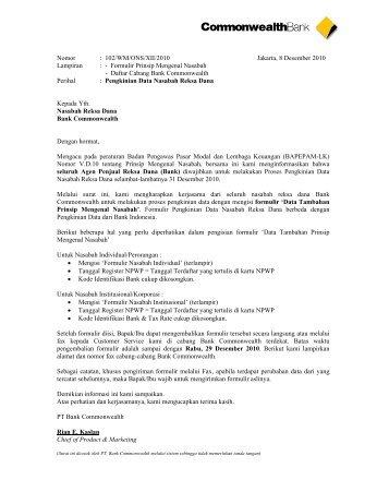 Formulir Nasabah Institusional - Commonwealth Bank