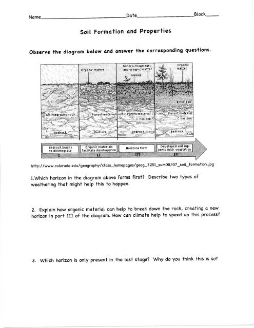 Soil Formation Worksheet Answers - Escolagersonalvesgui