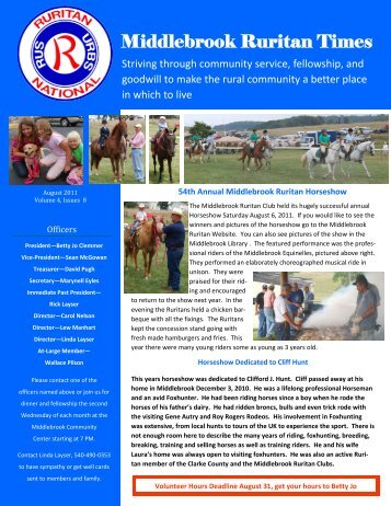 Ruritan Times August 2011 - Middlebrook Virginia Community ...