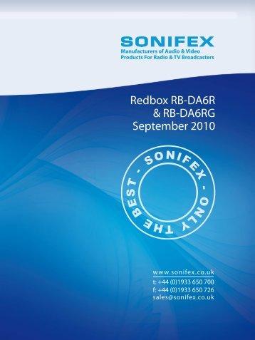 Redbox RB-DA6R & RB-DA6RG September 2010 - Sonifex