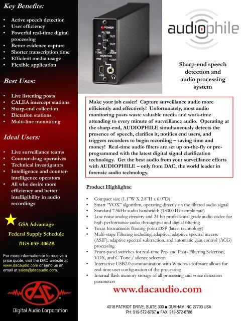 Ideal Users - Digital Audio Corporation