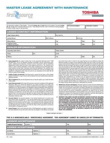 Appendix D Master Lease Agreement