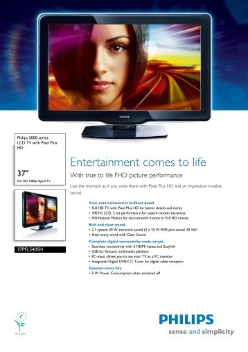 37PFL5405H/05 Philips LCD TV with Pixel Plus HD - welshit.co.uk